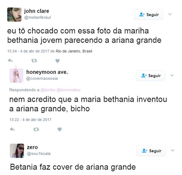 Semelhança entre Maria Bethânia e Ariana Grande surpreende a web (Foto: Reprodução/Twitter)