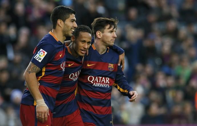 Messi, Neymar, Suárez Barcelona x Real Sociedad Campeonato Espanhol 2015 (Foto: Reuters)