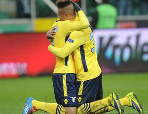 Lazio x Legia Warsaw - Felipe Anderson comemoração (Foto: Agência / AP)