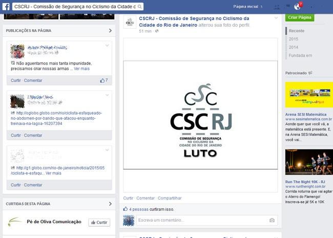Página da Comissão de Segurança no Ciclismo faz homenagem a médico morto (Foto: Reprodução / Facebook)