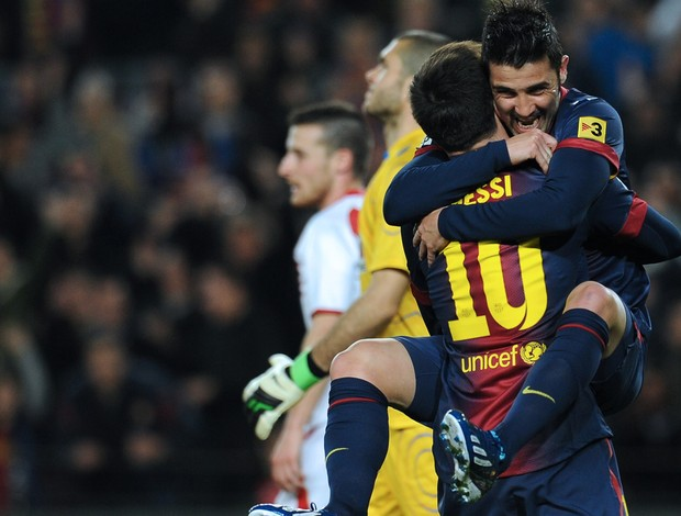 David Villa Messi gol Barcelona (Foto: AFP)