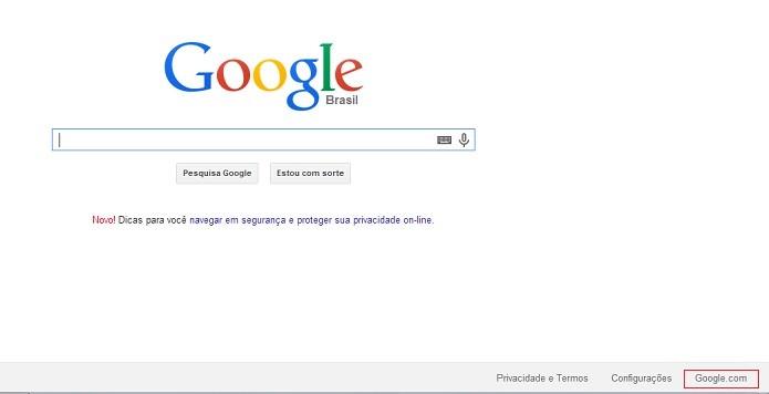Coloque na  versão americana do Google (Reprodução/Taysa Coelho)