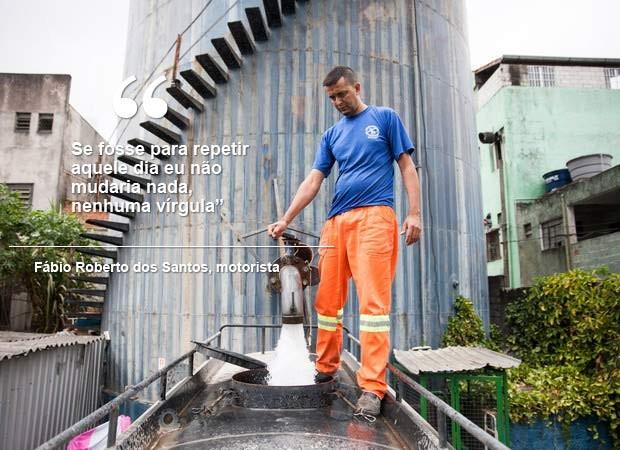 frase do caminhão pipa seca (Foto: Fabio Tito/G1)