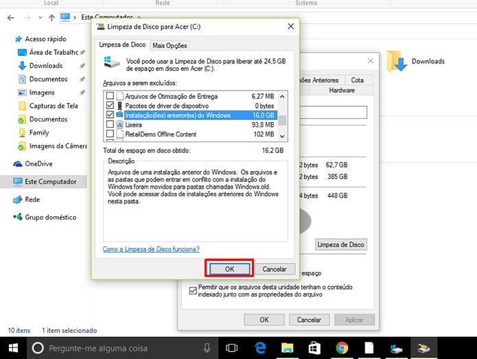 Windows.old fica registrado como Instalações anteriores do Windows (Foto: Reprodução/Elson de Souza)