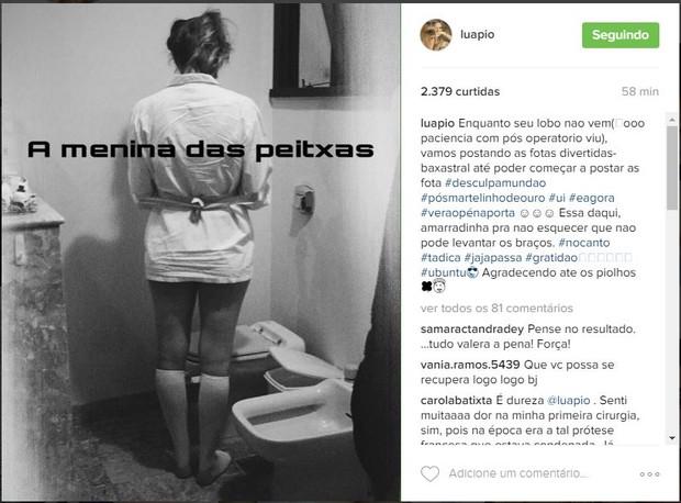 Luana Piovani faz post e fala sobre cuidados depois de colocar silicone nos seios (Foto: Reprodução/Instagram)
