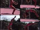 De biquíni, Carolina Dieckmann faz acrobacias em cama elástica