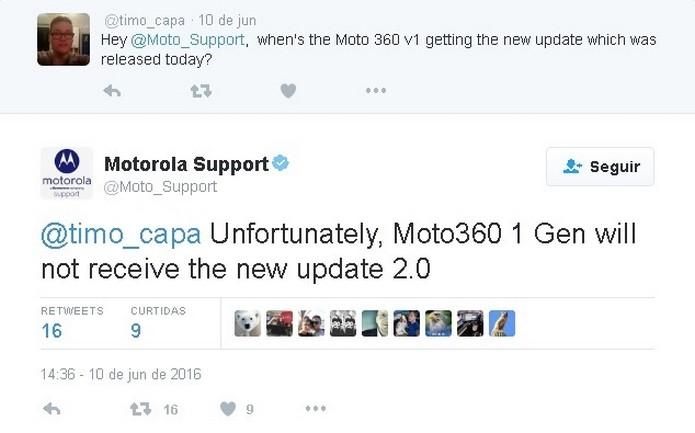 2.PeloPelo Twitter, Motorola afirma que não vai atualizar Moto 360 (Foto: Reprodução/Twitter)