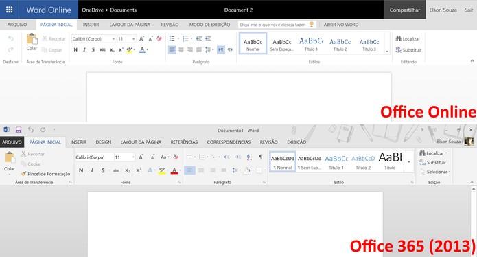 Word Online traz funções mais simples em comparação com Word 2013 (Foto: Reprodução/Elson de Souza)