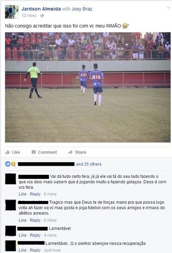 Polaco, meio-campo do Atlético-AC, posta apoio a Josy (Foto: Reprodução/Facebook)