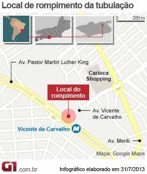 Arte rompimento de tubulação em Vicente de Carvalho (Foto: Arte/G1)