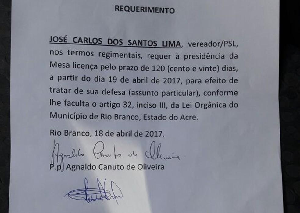 Defesa de Jurua fez requerimento pedindo afastamento de vereador (Foto: Divulgação)