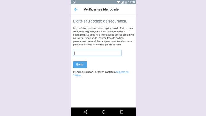 Código de backup pode ser utilizado para garantir login no Twitter (Foto: Reprodução/Twitter)