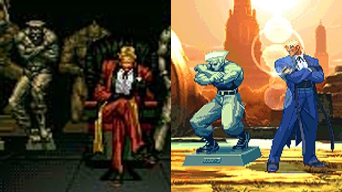 Rugal exibia estátuas de lutadores em The King of Fighters 94 e repete em Capcom vs. SNK com Guile (Foto: Reprodução/Neo-Geo e Neo-Geo Spirits)