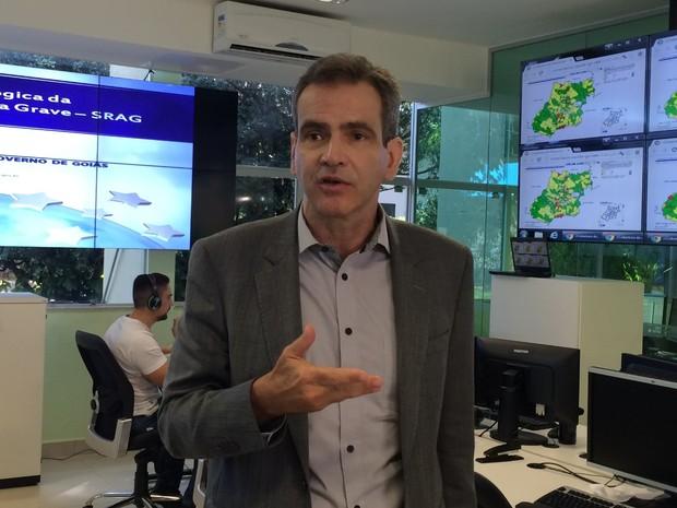 Secretário estadual de Saúde, Leonardo Vilela, em Goiânia, Goiás (Foto: Paula Resende/ G1)