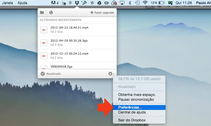 Abra as preferências do Dropbox (Foto: Reprodução/Paulo Alves)