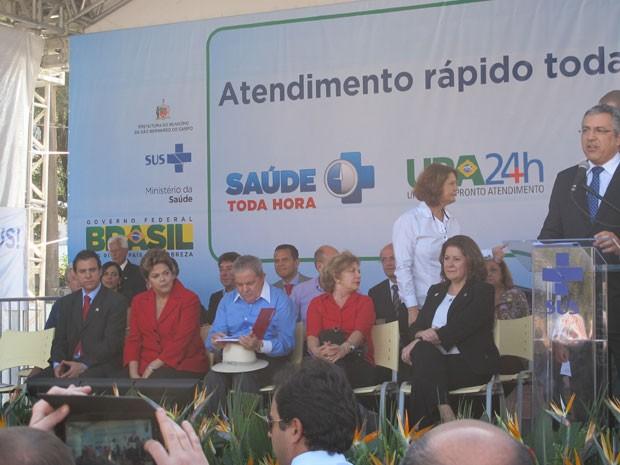 Dilma e Lula participam de inauguração de posto de atendimento em São Bernardo do Campo (SP) ao lado do candidato à reeleição, Luiz Marinho (Foto: Roney Domingos/ G1 )