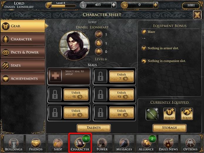 """Em """"Character"""" é possível visualizar os atributos do personagem do jogador e gerenciar o seu desenvolvimento (Foto: Reprodução/Daniel Ribeiro)"""