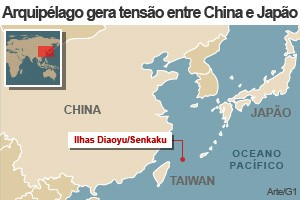 mapa ilhas japão china (Foto: 1)