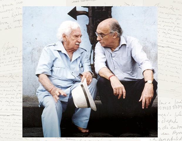 Jorge Amado e Saramago em Salvador em 1995 (Foto: Reprodução)
