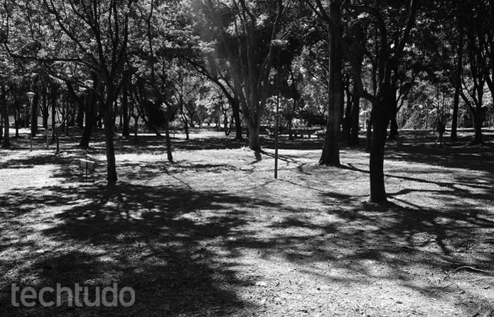 Sombras criadas pelo sol dão textura à foto PB (Foto: Raquel Freire/TechTudo)