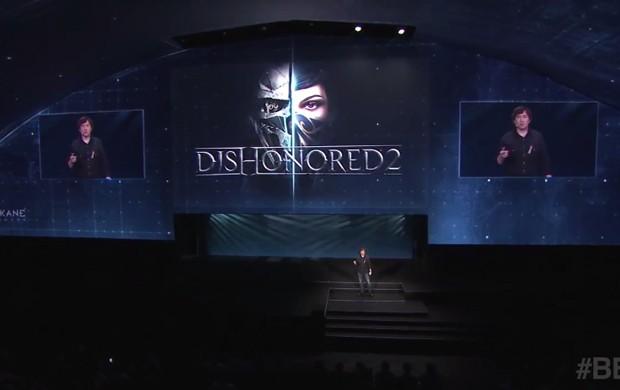 'Dishonored 2' fechou a conferência da Bethesda antes da E3 2016, mas não empolgou tanto (Foto: Reprodução/YouTube/Bethesda)