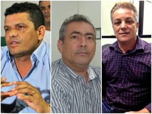 Prefitos de Santa Rosa, Rivelino Mota; Plácido de Castro, Roney Firmino foram presos e Raimundo Ramos, do Bujari está sendo procurado  (Foto: Arte/G1)