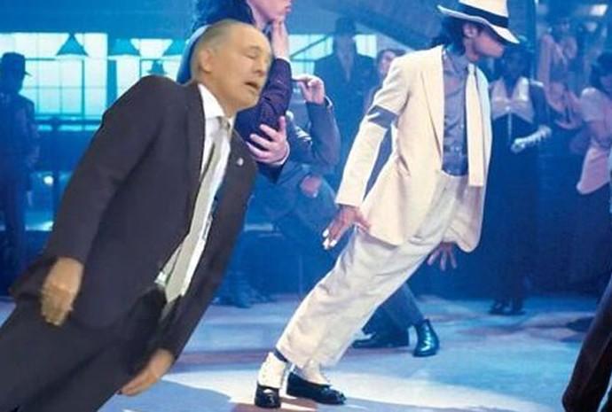 Técnico argentino Alejandro Sabella em montagem na qual é comparado a dançarino de Michael Jackson
