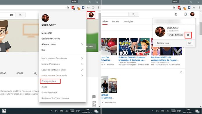 Abra as configurações do YouTube no Chrome para ativar notificações (Foto: Reprodução/Elson de Souza)