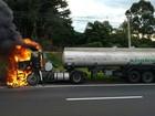 Cabine de caminhão pega fogo no Distrito Industrial de Ponta Grossa