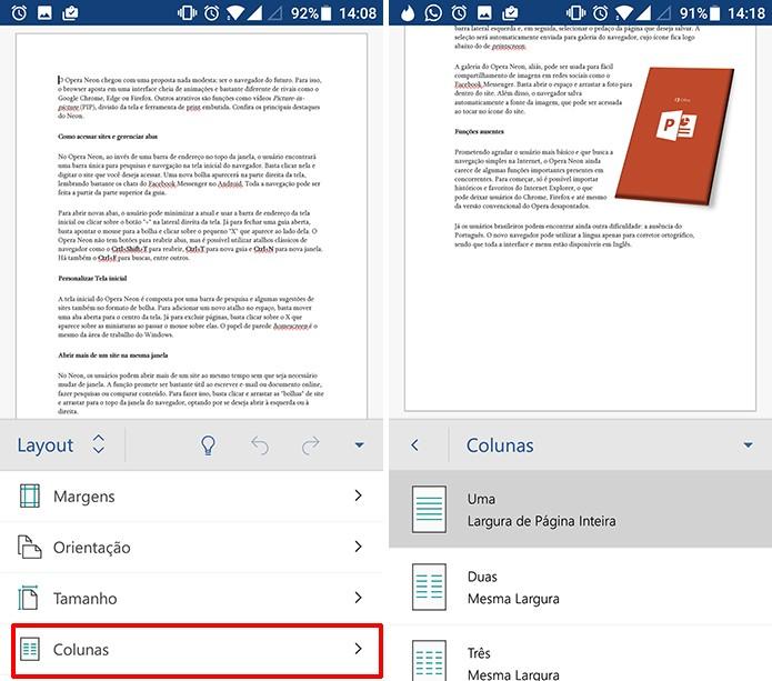 Usuário pode dividir corpo do texto no Word para Android em colunas (Foto: Reprodução/Eson de Souza)