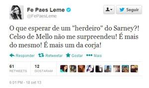 Atriz Fernanda Paes Leme comenta decisão de novo julgamento do mensalão (Foto: Reprodução/Twitter)