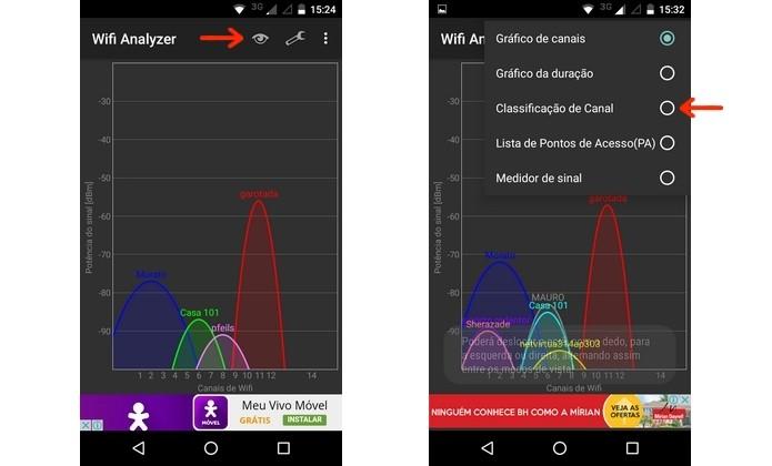Telas iniciais do app Wi-Fi Analyzer (Foto: Reprodução/Raquel Freire)