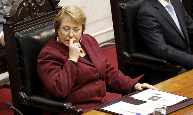 Michelle Bachelet em cerimônia anual de discurso para o Congresso do Chile, em Valparaiso, em 21 de julho (Foto: Rodrigo Garrido/ Reuters)
