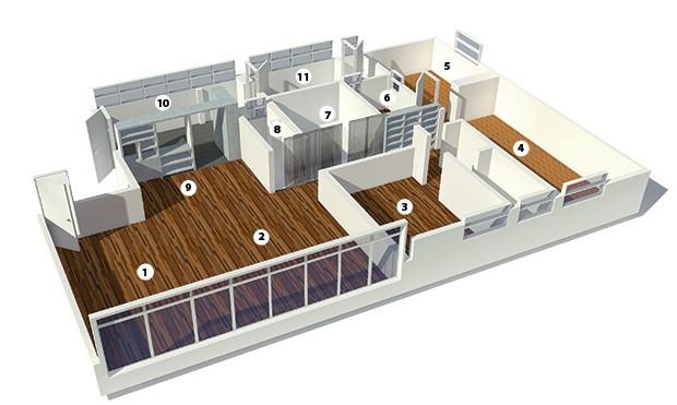 1. Sala de estar | 2. Escritório | 3. Quarto | 4. Suíte | 5. Closet | 6. Banheiro | 7. Sala de TV | 8. Lavabo | 9. Sala de jantar | 10. Cozinha | 11. Lavanderia (Foto:  )