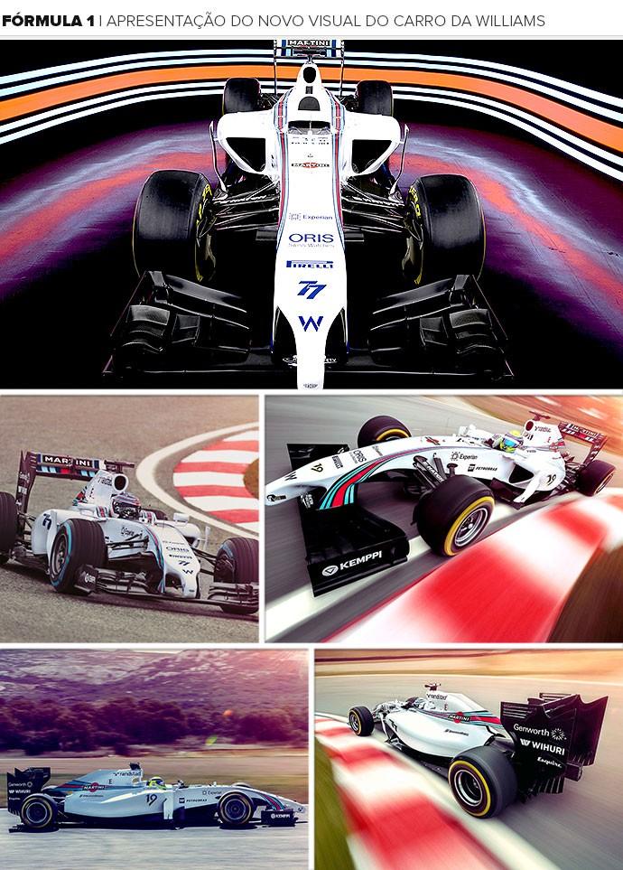 Mosaico novo visual carro Williams (Foto: Editoria de Arte)