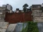 Muro de contenção desaba na comunidade do Jacó, em Natal
