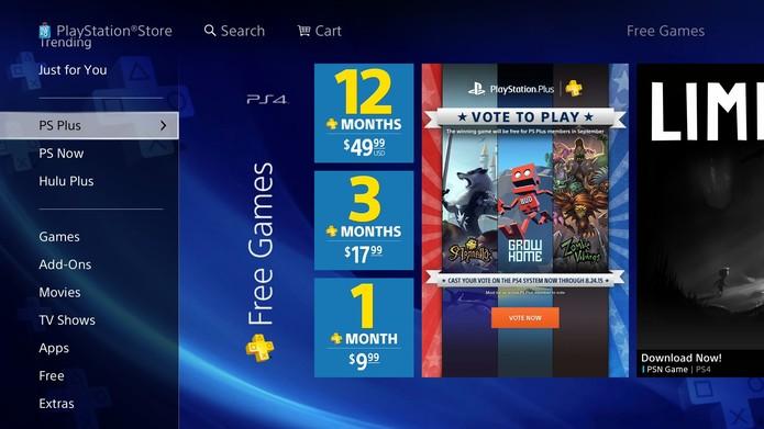 A votação também pode ser encontrada na aba PS Plus da PlayStation Store (Fonte: Reprodução/Cássio Barbosa)