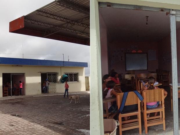 Posto de gasolina em Manari vira escola com salas de aula improvisadas. (Foto: Luna Markman/ G1)