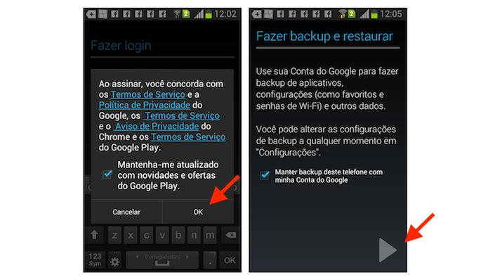 Confirmando os termos para usar o Gmail no Android (Foto: Reprodução/Marvin Costa)