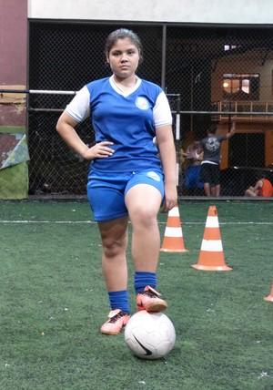 Em busca de sonho, jogadora do AP participa de peneira em time paulista (Foto: Wellington Costa/GE-AP)