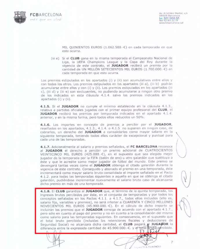 Contrato Neymar cláusula (Foto: Reprodução/Football Leaks)