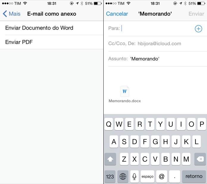 Compartilhando documento em anexo no e-mail (Foto: Reprodução/Helito Bijora)