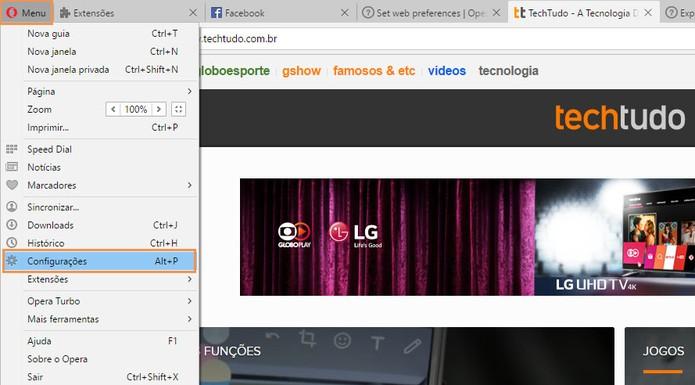 Acesse as configurações do navegador Opera (Foto: Reprodução/Barbara Mannara)