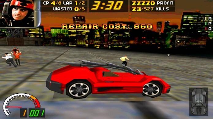 Carmageddon: título pontuava jogador por atropelar pessoas e destruir o carro adversário (Foto: Reprodução/Youtube)