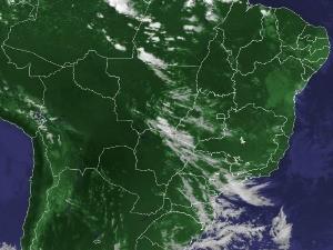 Imagem de satélite capturada na tarde deste sábado (31) (Foto: Reprodução/Cptec/Inpe)