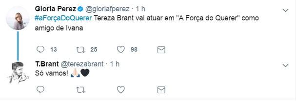 """Gloria Perez anuncia participação de Tereza Brant em """"A Força do Querer"""" (Foto: Reprodução/Twitter)"""
