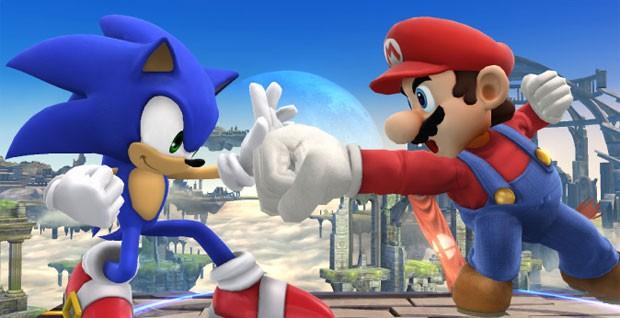 Sonic luta contra Mario em cena de 'Super Smash Bros.' (Foto: Divulgação/Nintendo)