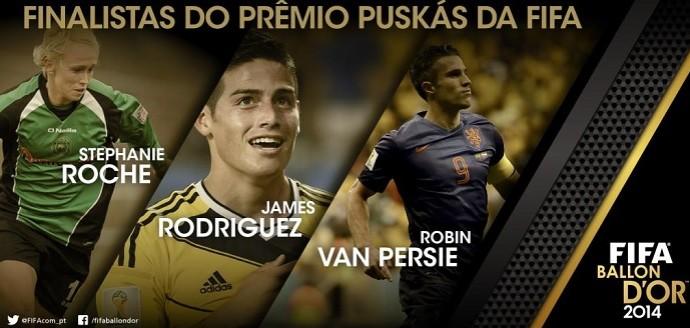 Steph Roche, James Rodríguez e Van Persie, finalistas do Prêmio Puskas de 2014 (Foto: Reprodução)