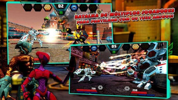Golpes arrasados em um jogo casual de luta entre robôs (Foto: Divulgação)