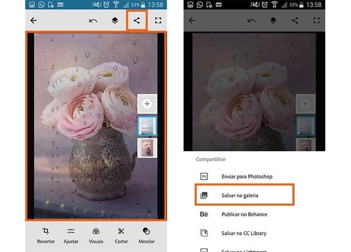 Salve o resultado da montagem na galeria do celular pelo Photoshop Mix (Foto: Reprodução/Barbara Mannara)